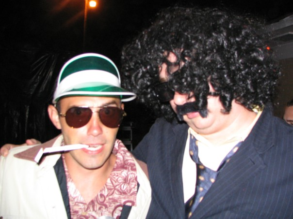 My younger brother as Raoul Duke (Hunter S. Thompson) and his best friend as Dr. Gonzo. Fear and Loathing in Las Vegas, baby!